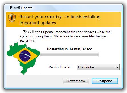 Brazil Update: reinicialização para instalação de atualizações políticas importantes